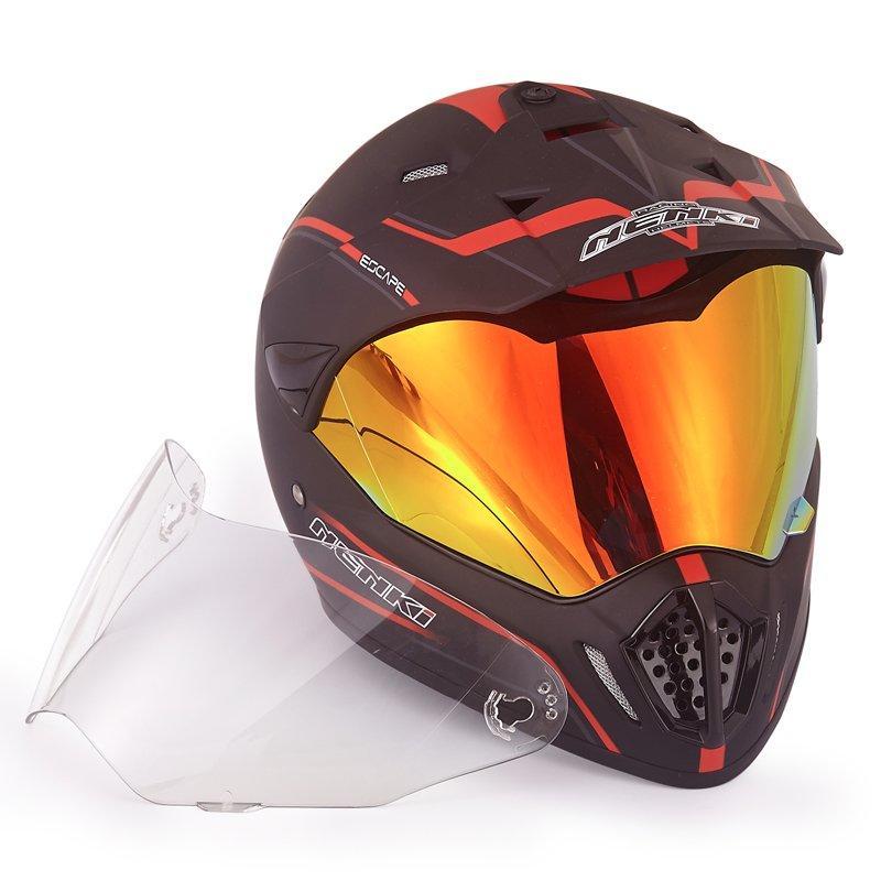 Dual Sport Motorcycle Helmet DOT Certified NK-310 Full Face Motocross Off Road Dirt Bike ATV MX Revo  Mirror Free Interchangeabl
