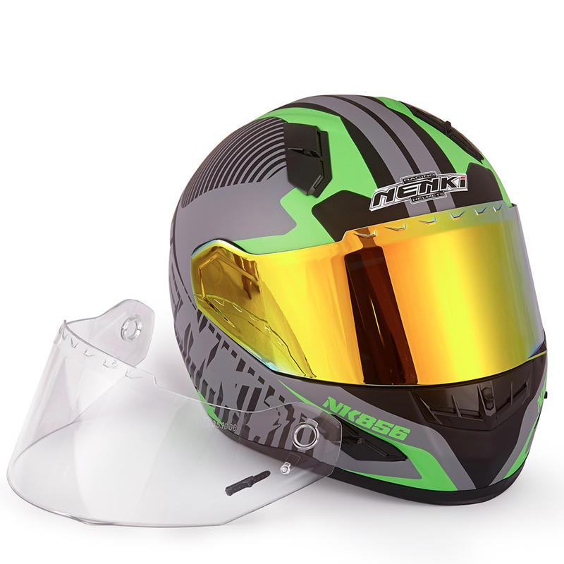 Motorcycle Helmets Full Face Helmet  DOT Approved Street Bike 2 Visors with Clear Shield Dual Visors Fiberglass Shell NK-856