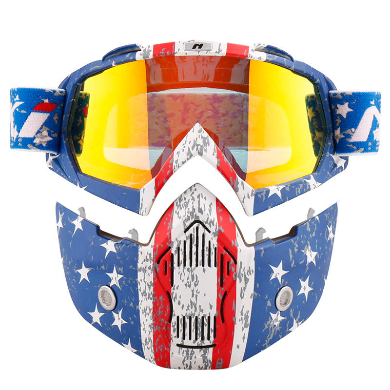 Motorcycle Goggles Mask  For 3/4 Motorcycle helmets And Retro Harley helmet NK-1019US Detachable Mask US Flag Style