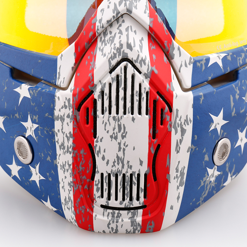 Nenki Motorcycle Goggles Mask  For 3/4 Motorcycle helmets And Retro Harley helmet NK-1019US Detachable Mask US Flag Style Open Face Helmets image1