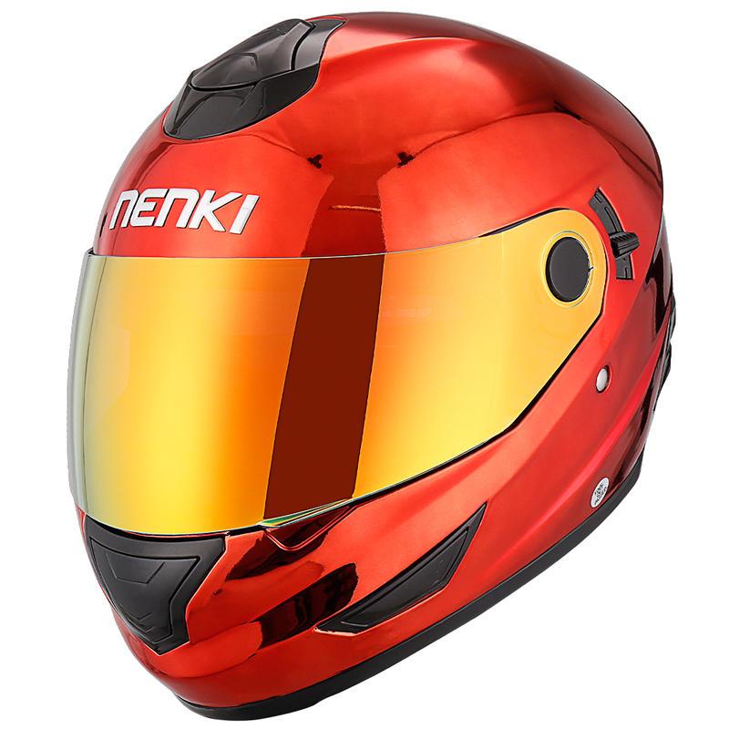 Motorcycle Helmets Full Face Helmet Street Bike DOT Certified 2 Visors with Clear Shield Dual Visors Chrome Plated NK852 Nenki H